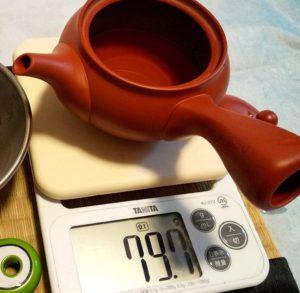 煎茶の入れ方、お湯の量を計測