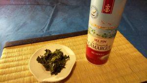 玉露の茶殻に塩をかけて食べる