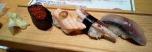 板前寿司いくら・炙りサーモン・イカゲソ・真鯖