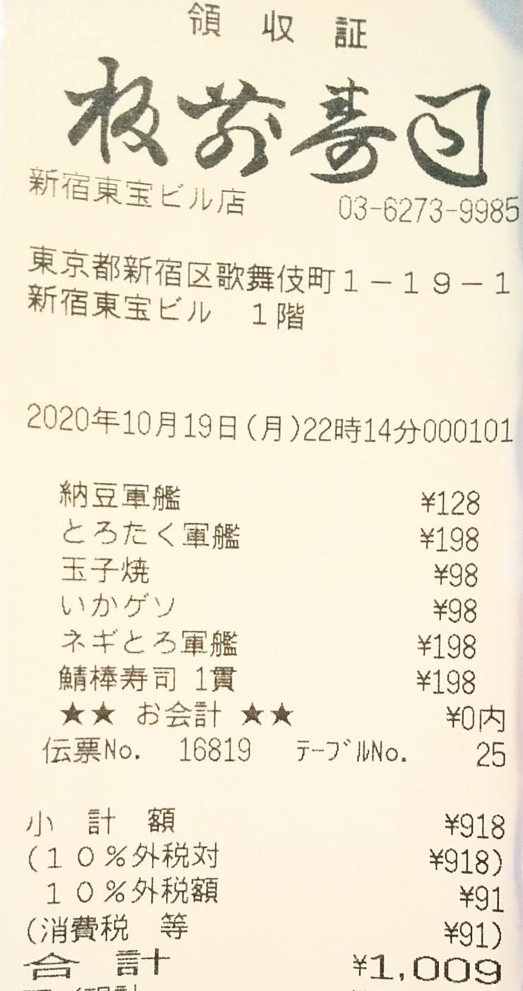 板前寿司レシート