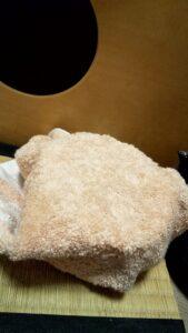 透明急須に熱湯を入れてタオルで包み込む