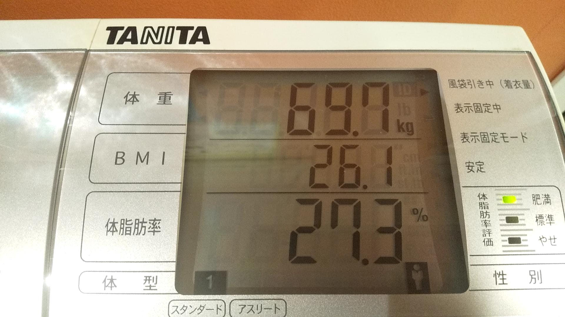 3日目の体重